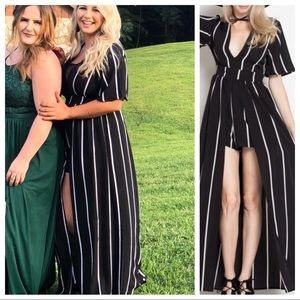 Dresses & Skirts - Striped black and white romper jumpsuit train bel